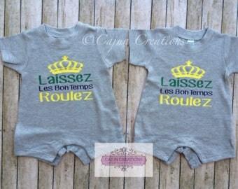 New Orleans baby romper, Laissez Les Bon Temps Roulez, cajun baby gift, Louisiana infant clothes,  baby shower gifts, Nola baby, Mardi Gras
