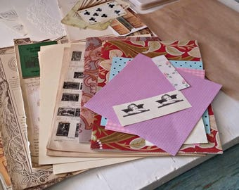 Assorted Vintage Book Pages for Scarpbooking & Stationery, Retro Sepia Mixed Collage Paper, Art Journaling Gift Pack, Flower Prints