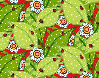"SUMMER SALE Fat Quarter (18""x22"") ONLY - Bugapalooza Ladybugs on Red from In The Beginning Fabrics"