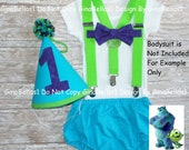 Monster Birthday outfit mike sully cake smash I am one Hat blue green diaper cover lime green suspenders purple bow tie 12 18 24 toddler