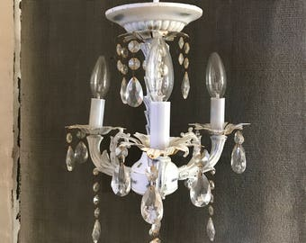 Vintage Chandelier -  Petite 3-Arm with Chrystal Prisms - Nursery, Powder Room, Closet, Boudoir Lighting