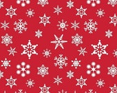 SHOP CLOSING SALE Riley Blake Christmas Fabric by the yard Snowflakes in Red 1 yard