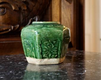 antique chinese ginger jar green