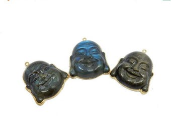 10% off Independence Day Labradorite Buddah Head Pendant with Electroplated 24k Gold Edge (S95B16-18)