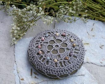 Crochet Stone Paperweight with Beads