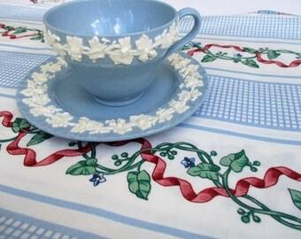 20% Summer SALE Wedgewood Etruria Cream on Blue Embossed Queensware Cup & Saucer Set Barlaston...Lavendar on Cream Ribbon Dematisse Pattern