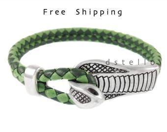 Snake bracelet, Women's snake bracelet gift, Custom mens bracelet, Cobra bracelet, Antique hook closure, Spanish braided leather, Unisex