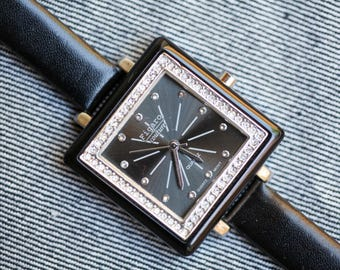 Ladies fashion costume jewelry watch black with jewels and black leather strap