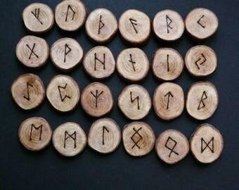 Hawthorn Elder Futhark, 24 Rune discs
