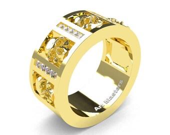 Mens Modern 14K Yellow Gold Channel Diamond Skull Wedding Ring R413-14KYGD