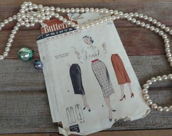 Fashion Plate Butterick Vintage Skirt Pattern for Ladies - Mid Century Printed Sewing Pattern, Pencil Skirt, Day Wear, Easy To Sew Pattern