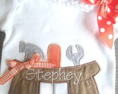 Personalized Baby Girl One piece  or  T shirt Tool Belt Set with headband bow, Father's Day or Take Home Outfit