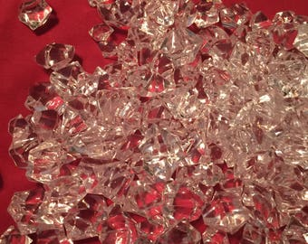 One half POUND Acrylic Ice Rocks Chips - Faux Glass chards for table scatter, vase filler, more