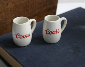 Vintage Lot 2 COORS Beer Miniature Mugs Ceramic Tiny Shot Souvenir