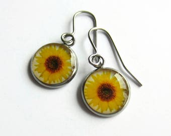 Sunflower Earrings, Sun Flower Earrings, Sunflower Jewellery, Yellow Flower Picture Earrings, Boho Dangle Earrings, Nature, Surgical Steel