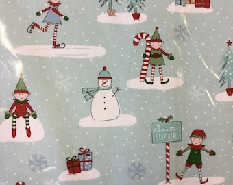 Fryetts Christmas Elf PVC Table Cloth Fabric by the Half Metre