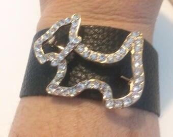 Genuine Leather Cuff Bracelet with Vintage Rhinestone Scottie Brooch