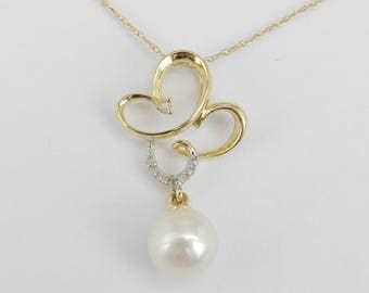 """14K Yellow Gold Diamond and Pearl Drop Pendant Butterfly Necklace with Chain 18"""""""