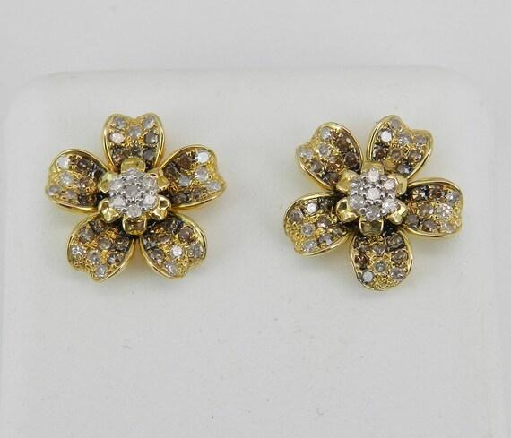 14K Yellow Gold Diamond Flower Stud Earrings Cluster Studs Fancy Diamonds Wedding Gift