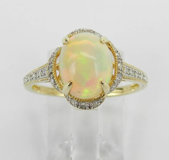 Diamond and Opal Halo Promise Engagement Ring Yellow Gold Size 7.25 October Gem