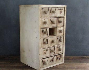 Salvaged Primitive Wood Cabinet, 17 Drawer Cheese Box Wood Cupboard, Handmade Hardware Storage Box, Barn Find