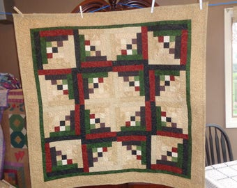 Ninepatch Log Cabin, Decorator Quilt, Scrappy Quilt, Country Quilt 0531-01