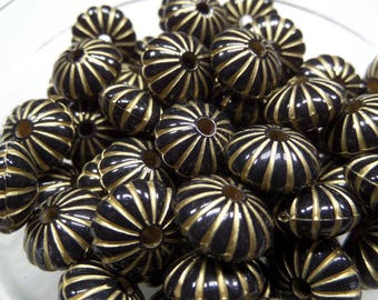 14mm 25CT. Flat Round Plating Acrylic Beads, Golden Metal Enlaced, Black, 14x8mm, Hole: 2.5mm, G9