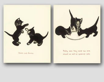 "Cat Kitchen Wall Art (Cat Gifts Set, Vintage Cat Decor Sale) --- ""Playful Kittens & Suppertime"""