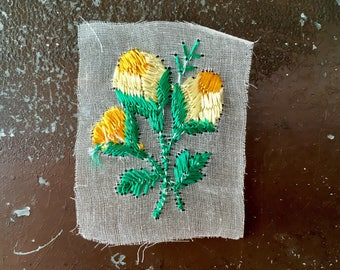 Vintage Silk appliqué yellow flower patch vintage embroidered patch original unused on gauze sew on bohemian Art Deco