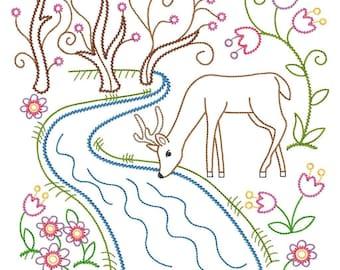 Deer at Spring River Vintage-Style Design Embroidered on Hand Towel or Tea Towel