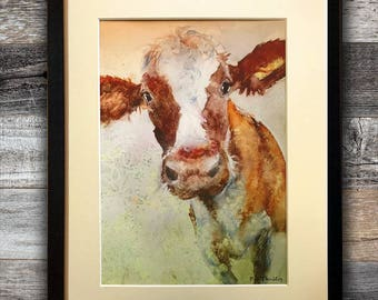 Cow Print of cow watercolor painting brown cows art with mat 11 x 14