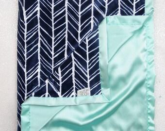 Minky Blanket, Baby boy, navy and mint, Herringbone blanket, blue and white, navy and aqua, satin blanket, silk blanket, baby boy blanket