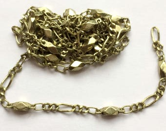 Vintage Chain, Specialty Chain, Bead and Link Chain, Jewelry Making, Handmade Chain, Antique Gold, B'sue, 2 Continuous Feet , Item03203