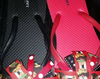 Red and black Chicago Blackhawks flip flops Size 7 0nly