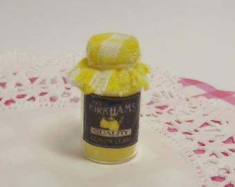 Dollhouse 1:12 Miniature Glass Jar of Handmade Lemon Curd with Gingham Cover