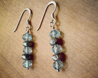 Blue Topaz & Thai Silver Floral Stamp Earrings