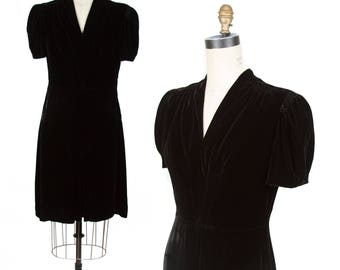 1940s Dress // Black Velvet Puff Sleeve Dress