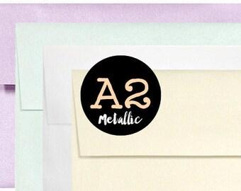 "SALE 12 Metallic A2 Envelopes - Amethyst Aquamarine Crystal Gold - 4 3/8"" x 5 3/4"""