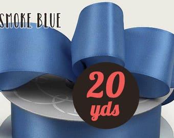 "Satin Smoke Blue Purple Ribbon - 7/8"" wide at 20 yards"