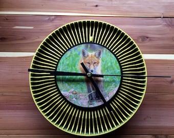 Recycled slide carousel clock red fox unique wildlife colorado