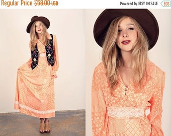 FLASH SALE 70s Orange Lace Maxi Vintage Spring Peach Rayon Dress