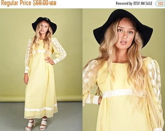 FLASH SALE 60s Pastel Yellow Embroidered Maxi Vintage Bohemian Long Dress