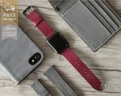 Apple Watch Band Leather Watch Band Minimal in Burgundy Red Wine Color 42mm 38mm Series 1 and 2 [Handmade] [Custom Colors]