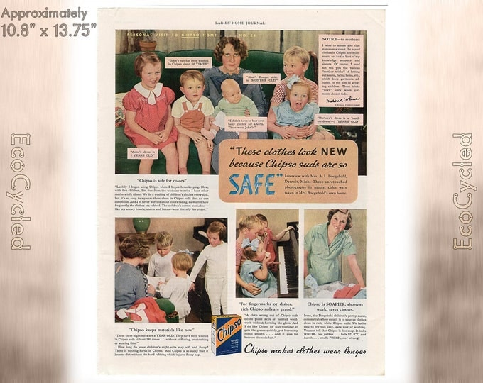 Ladies Home Journal 1935 Antique Chipso Suds, Washing Clothes Magazine Advertisements Antique Vintage Paper Ephemera art print ads z3