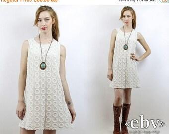 Crochet Lace Dress White Hippie Wedding Hippy Boho Vintage 90s