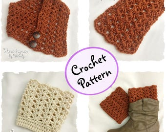 CROCHET PATTERN to make a Climbing Shells Neck Warmer or Scarf and Reversible Boot Cuffs in 3 sizes, easily adjustable. PDF Instant Download