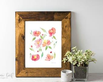 Flower Girl, Coral Floral botanical print, watercolor botanical, watercolor flowers, cottage chic, floral watercolor