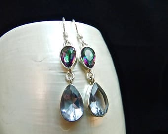 Alexandrite & Mystic Topaz Silver Handmade Earrings