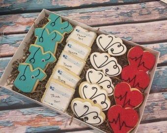 Doctor gift - thank you cookies - Handmade - 1 Dozen