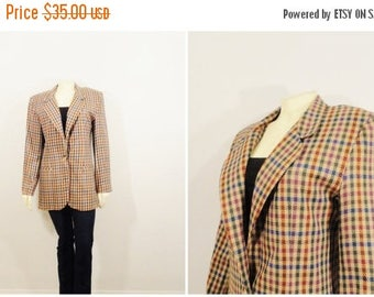 CLEARANCE Vintage Blazer 80s Oversized Blazer Counterparts Colorful Plaid Burgundy Eggplant Blue Brown Size 6 Modern Small to Medium